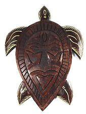 "Primitive Tribal Turtle Tiki Mask 12"" Wall Plaque 