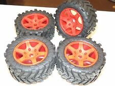 YY TRAXXAS X-MAXX TRUCK 220X106MM TIRES ON RED WHEELS USES MADMAX ADAPTER