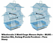 2-Bird Cage House Style - BLUE - Starter Kit, Swing Perch Feeders - Two Story