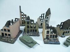 6 unpainted model ruined buildings for 6mm wargames, 1/300th and 1/285th scale