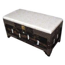 Madre di perla Oriental Furniture-nero laccato OTTOMANO CON PORTAOGGETTI
