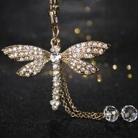 Bead Dragonfly Crystal Keyring Charm Pendant Purse Keychain Deko Bag Key Ri P0W3
