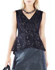 NEW BCBG MAXAZRIA KNIT BLACK TOP PEPLUM Printed Lace Evening Fancy Sexy TOP XXS