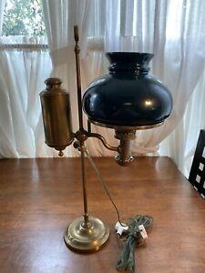 Vintage Brass Electrified Student Lamp by Kleeman N.Y. AS IS