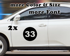 2x Custom Rally Racing Number Circle Decal Auto Car Race Sport Sticker