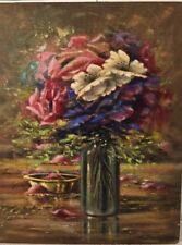 Huile Sur Panneau, Bouquet De Fleurs - Signé A. Bourgeois