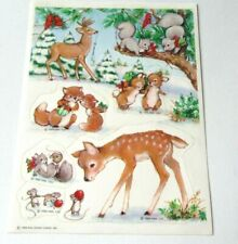 Vintage Hallmark Stickers Christmas 1986 Woodland Critters Deer Mice Squirrels