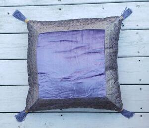 Elegant VELVET Purple Pillow 20 x 20 Inch, metallic brocade trim, tassels