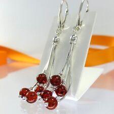 A161 Lange Perlen Quasten Ohrringe Hänger 925 Sterling Silber Bernstein Schmuck