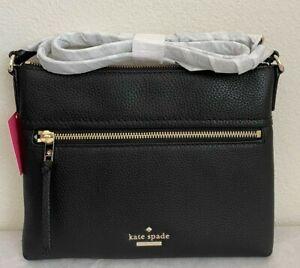 NWT Kate Spade Jackson Street Gabriele Leather Crossbody Bag Black PXRU7922