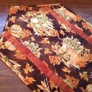 Handcrafted-Quilted Table Runner - Fall - Pumpkins, Gourds & Autumn Symbols