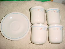CORELLE NEEDLEPOINT CUP & SAUCER SET x 4 OF EACH GENTLY USED FREE USA SHIPPING