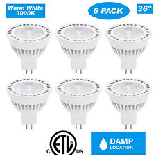 CloudyBay12V MR16 LED Spot Light Bulb, 3000K White 36D Beam, 6W 500lm (6 Pack)