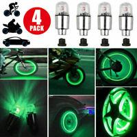 4x Green LED Car Wheel Tyre Tire Air Valve Stem Caps LED Light Lamp Accessory