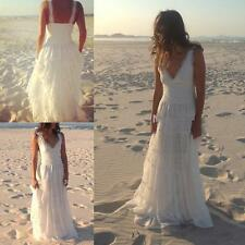 Simple Beach V Neck White/ivory Lace Wedding Dress Bridal Gown Custom Size 4-28