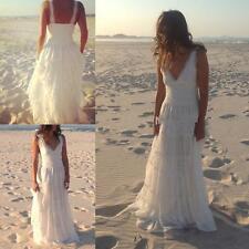 Simple Beach V Neck White/ivory Lace Wedding Dress Bridal Gown Custom Size 2-18+