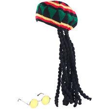 Perücken: Jamaika-Mütze mit Dreadlocks & gelber Brille