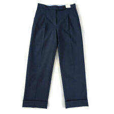 BNWT £45 Per Una M&S 10  Blue Straight Ankle Grazer High Rise Turn Up Trousers