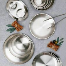 Stainless Steel Round Plates Dishes Dinner Metal Plates Tableware Plate Picnic