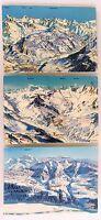 Lot Schweiz 3x Alpen Relief-Postkarte mit Bürchen, Saas-Fee Wallis, Brig Blatten