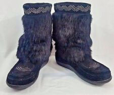 Womens Muks Black Suede Rabbit Fur Rubber Sole Pull On Boots Size 7