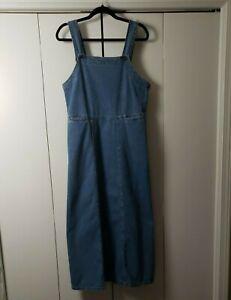 Woolrich Denim Overall Jumper Dress Pockets Long Size M VGUC