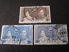 *ADEN, SCOTT # 13-15(3), COMPLETE SET 1937 CORONATION ISSUE USED