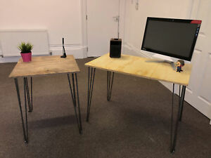 Desk Dining Table Solid Plywood Industrial Hairpin Legs Various Sizes Colours