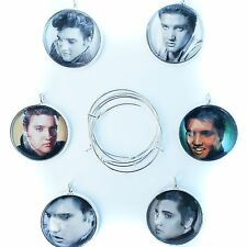 Elvis Presley Silver Plated Glass Bubble Wine Glass Charms 6 Piece Set