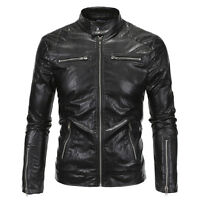 Mens PU Leather Coat Winter Bomber Biker Motorcycle Jacket Overcoat Outwear NEW