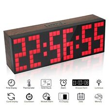 Large Big Number Jumbo LED snooze wall desk Alarm clock timer calendar