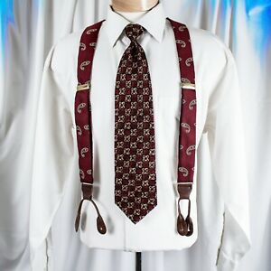 UNBRANDED  Burgundy Red with Bronze, Green and White Paisley Men Silk Suspenders