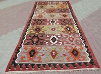 "Vintage Turkish Rug Antalya Kilim Tribal Wool Rug Handmade Rug 61""x141,7"" Carpet"