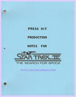 """""""STAR TREK III: The Search for Spock Press Kit/Production Notes"""" 1984 Manual!"""