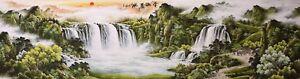 HUGE ORIGINAL ASIAN FINE ART CHINESE SANSUI WATERCOLOR PAINTING-Waterfall&House