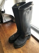 CHIPPEWA Engineer Motorcycle Steal Toe Made In USA Black TALL Boot 9.5 D