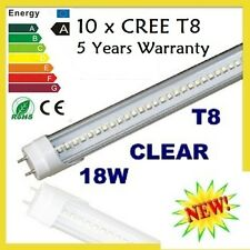 10 X LED LIGHT TUBE T8 1.2M 18W CLEAR FLUORESCENT COOL WHITE FROST BULB ENERGY