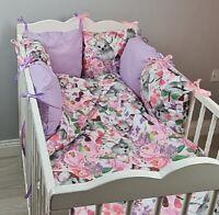 8 pc cot /cot bed bedding sets PILLOW BUMPER + CASES koala purple pink flowers