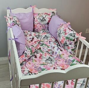 8 pc cot /cot bed bedding sets PILLOW BUMPER + CASES koala purple pink flowers