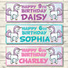 2 PERSONALISED UNICORN BIRTHDAY BANNERS - ANY NAME OR AGE - 3 COLOURS