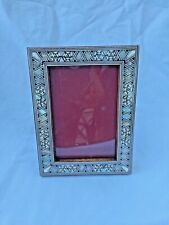 "Egyptian Wood Mother of Pearl Inlaid Handmade Picture Frame 7"" X 5.25"" #241"