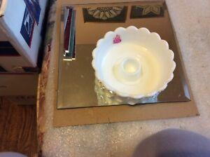 Vintage Fenton Milk Glass Low Candleholder w/Fenton Sticker, No. 3670 MI