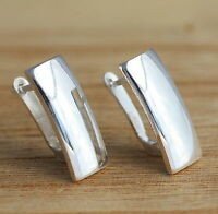 Solid 925 Sterling Silver Plain Earrings Stylish High Polished Earrings