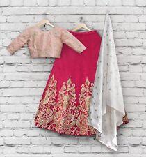 Women's Wedding Party Wear Indian Lengha Choli Pink Designer Skirt Lehenga S782
