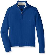 NEW NAUTICA Big BOYS Pullover Zip Neck Cotton Knit Sweater Top BLUE Sz Y M 10-12