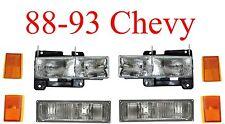 88 93 Chevy 8Pc Head, Parking & Side Amber Light Set Truck Blazer Suburban