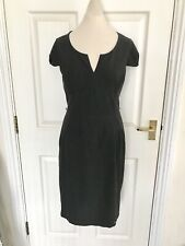 Oasis Grey Pencil Dress Size 10 S M Work Office Knee Length Short Sleeve
