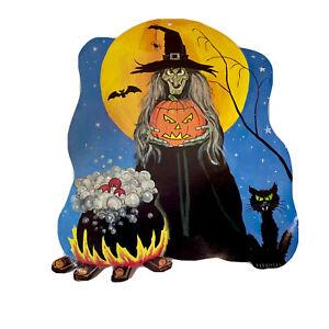 Vintage Halloween Die Cut Wall Decoration Witch Black Cat Jack-O-Lantern 2-Sided