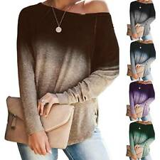 Womens One Shoulder Gradient Blouse Tops Long Sleeve Loose Pullover T Shirts UK