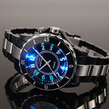 Ohsen Mens Black 7 Modes Lights 12 Hours Sport Water Proof Quartz Wrist Watches